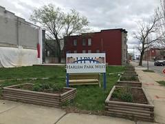 """Harlem Park West"" sign at Community Walk Through Theater, W. Lanvale Street and N. Monroe Street (southeast corner), Baltimore, MD 21217"