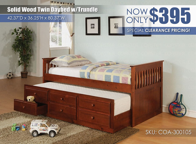 Special Clearance Solid Wood Captains Trundle Daybed_COA-300105-2