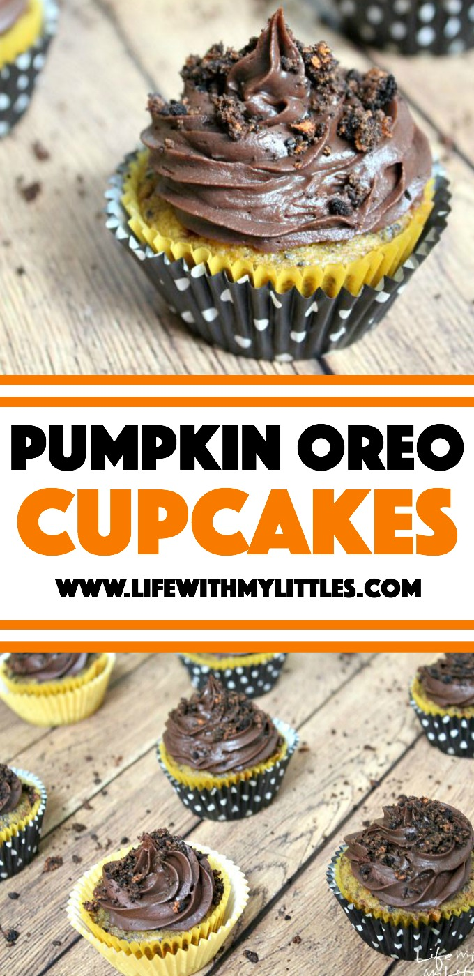 These Pumpkin Oreo Cupcakes are the perfect fall or Halloween dessert! Pumpkin, Oreos, and chocolate are an amazing combo! You have to try this one!