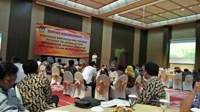 Rakor Sosialisasi Keputusan KPU tentang Petunjuk Pelaksana dan Pertanggungjawaban Anggaran BPP Ad Hoc Dalam Bentuk Talkshow berlangsung selama dua haridi Golden Tulip Holland Resort, Kota Batu, Jawa Timur (23/5)