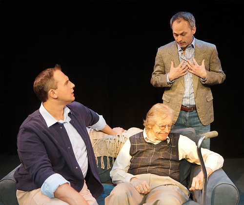 """from left Alexander Mrazek, J.D. Sutton (seated), and Steven Lane. """"The Luckiest People"""" at the Orlando Shakespeare Theater"""