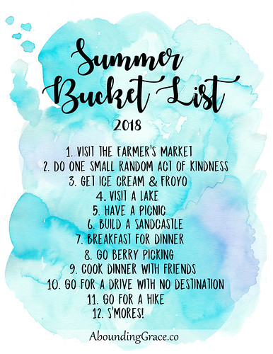 Summer Bucket List 2018