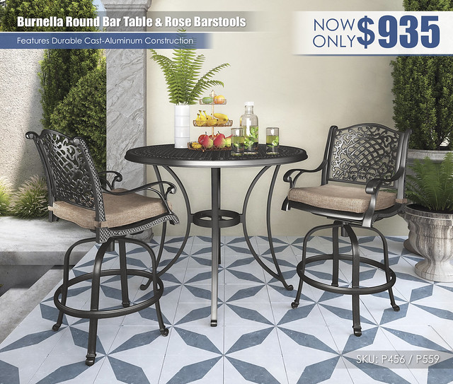 Burnella Round Bar Table & Rose View Barstools_P559-130(2)-P456-613