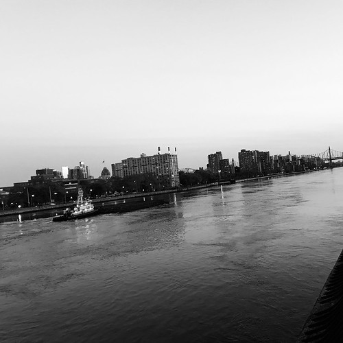 Tug Boat and Barge on the East River by DJ Lanphier