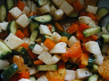 Jicama Salad with cucumber and bell peppers