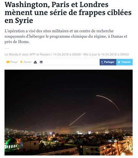 18d14 Washington, Paris et Londres mènent une série de frappes ciblées en Syrie