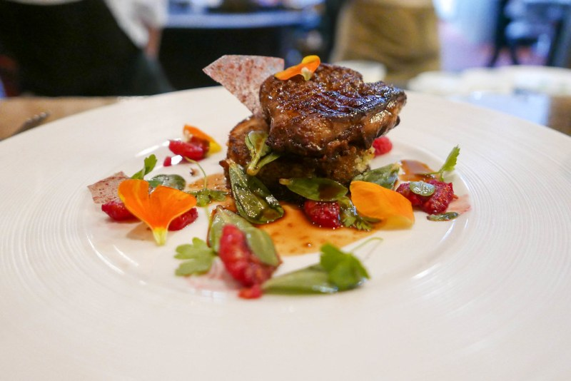 Seared Foie Gras, Raspberry, lemon thyme cake, purslane ($23)