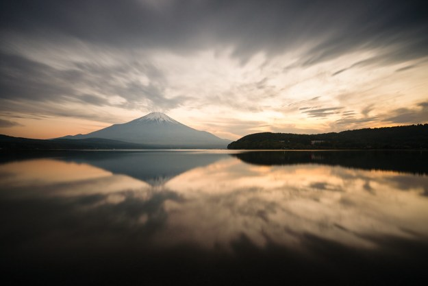 Mt. Fuji Reflected in Lake Yamanaka at Sunset