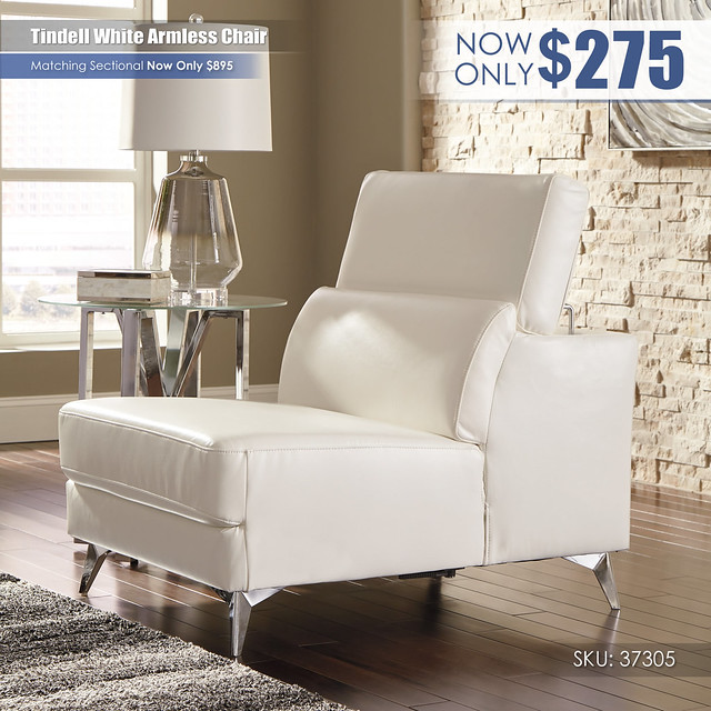 Tindell White Armless Chair_37305-46-UP