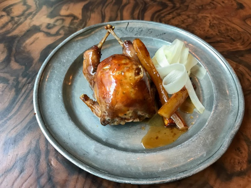 Woodfired quail, sweetbread, salsify ($17)