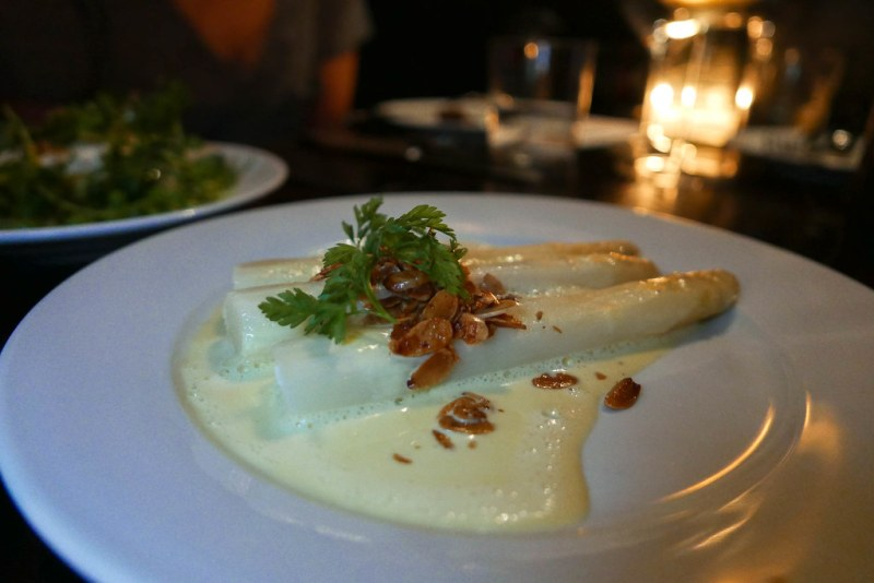White Asparagus, Sauce Maltaise, Toasted Almonds ($17)