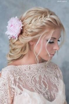 Wedding Hairstyles : braided wedding hairstyle with pink flowers / www.deerpearlflow…
