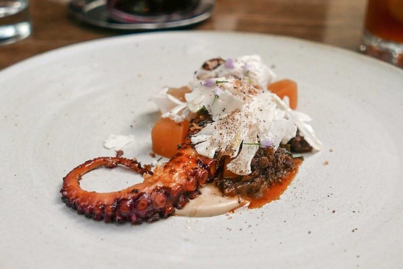 Grilled Spanish Octopus, smoked hazelnut, morcilla, melon, cauliflower
