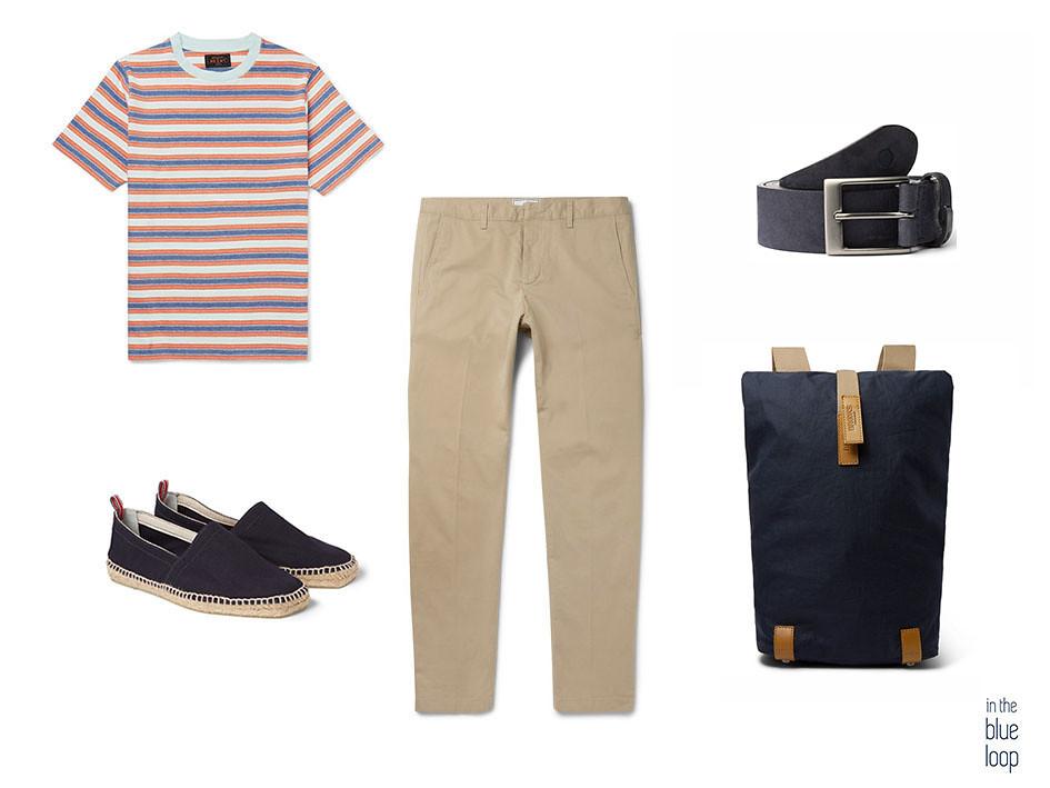 Look casual de chinos, camiseta de rayas, cinturón igara de blueholemen, alpargatas azules y mochila