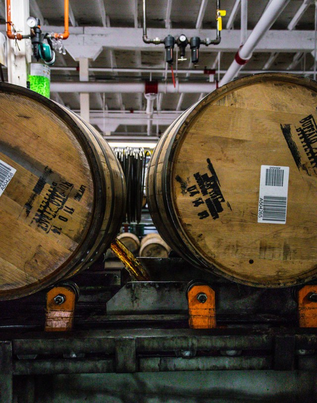 4-year-old bourbon, flowing out of the aging barrels