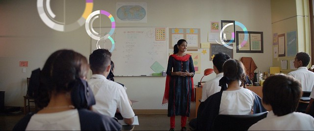 Classroom with visual of students' performance_AI