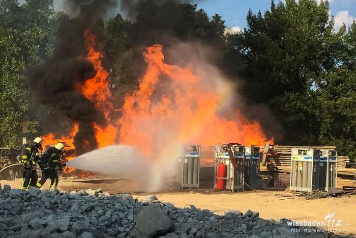Feuer auf Baustelle Schierstein 06.08.18
