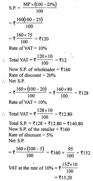 ML Aggarwal Class 10 Solutions for ICSE Maths Chapter 1 Value Added Tax Ex 1 11