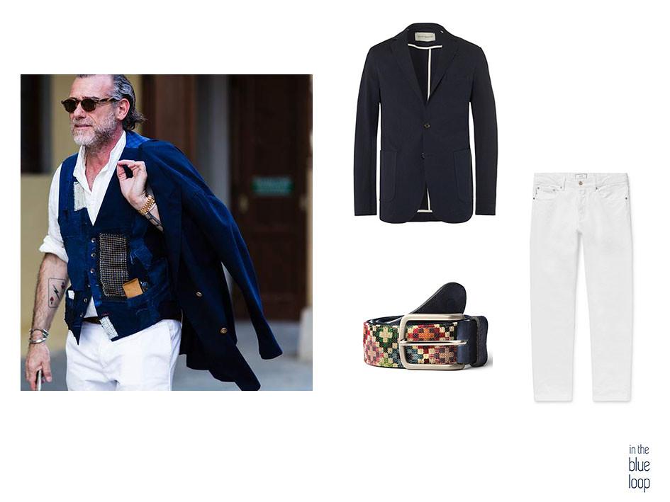 Look masculino smart casual con vaqueros blancos, cinturón para hombre y blazer azul