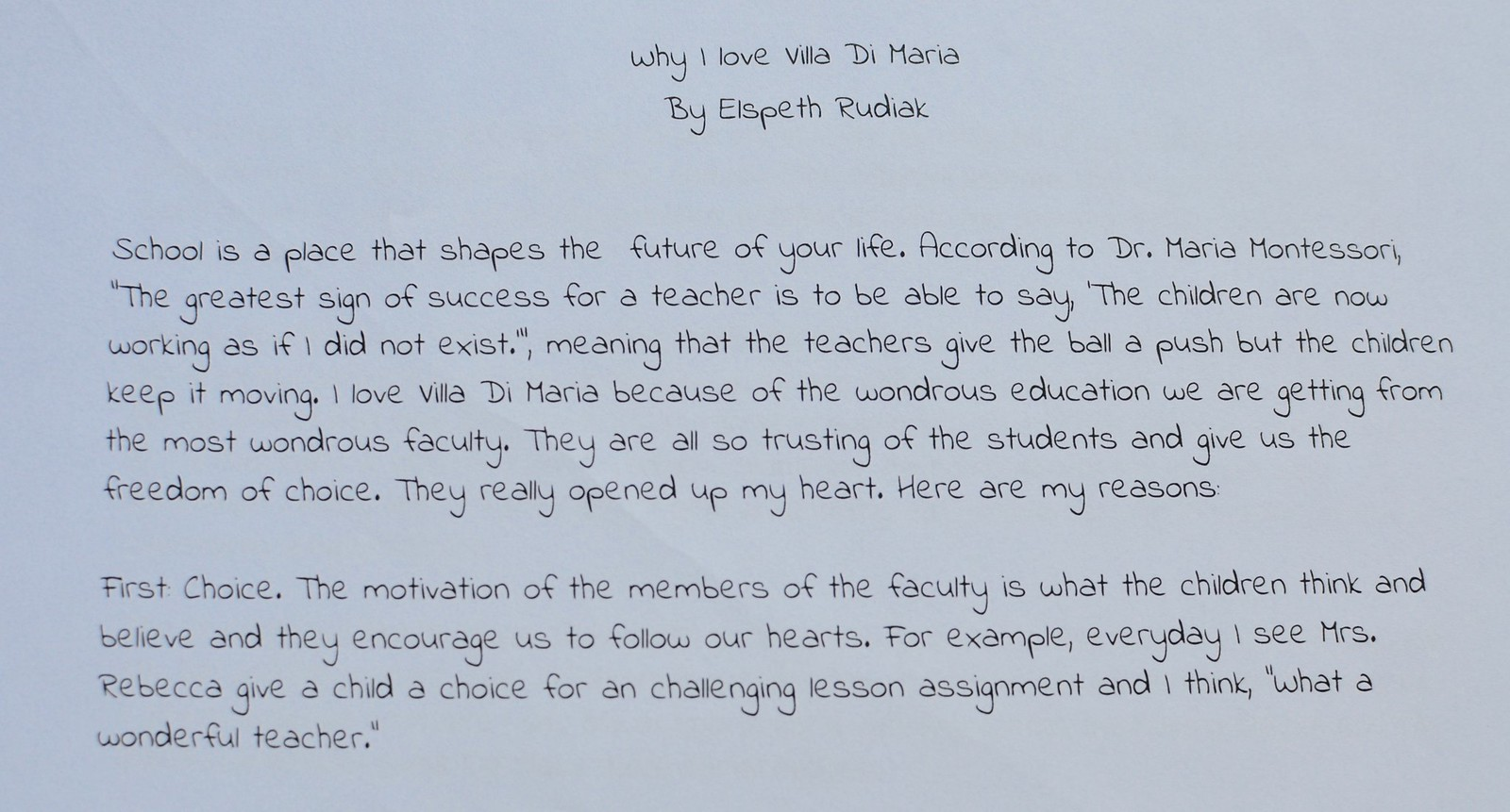 Why I Love My School Elementary Essay Entries Villa Di