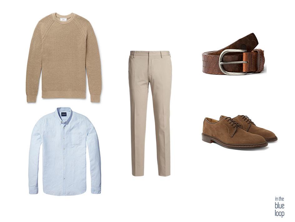 Look smart-casual con chinos, camisa azul, zapatos marrones, jersey y cinturón nublo para hombre