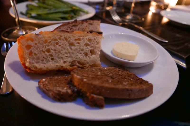 Do not skip the bread here. Focaccia, Soda and Sourdough Bread ($6)