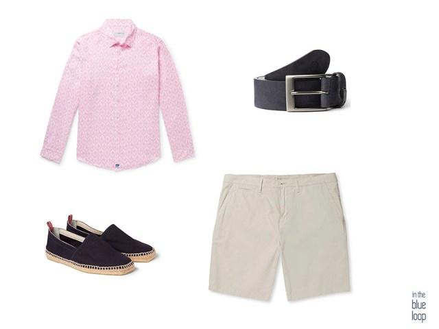 Look casual masculino con shorts o pantalones cortos, camisa, cinturón igara para hombre y alpargatas