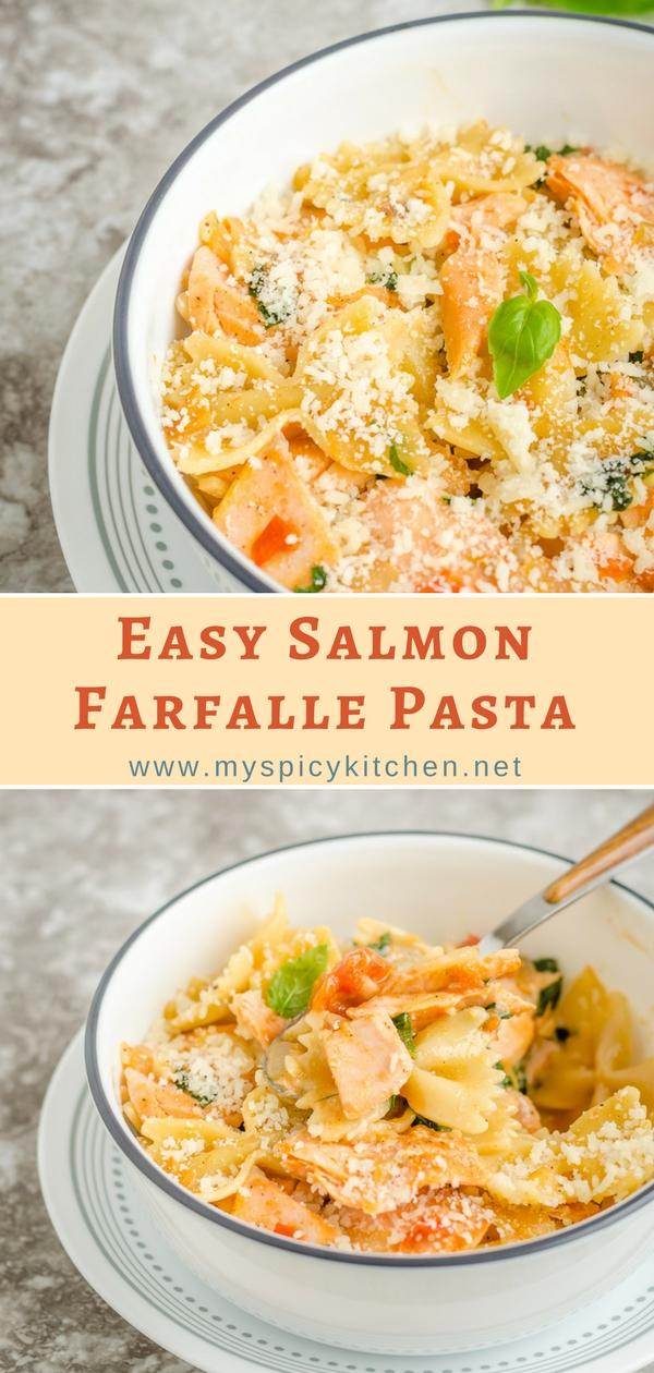 Easy salmon farfalle pasta in a creamy tomato sauce