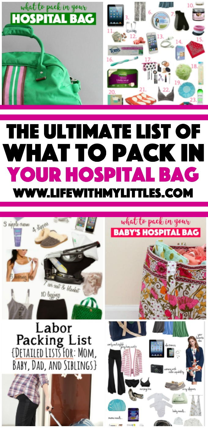 The ultimate list of what to pack in your hospital bag. This is a great roundup of the best posts all about packing your hospital bag for labor and delivery!
