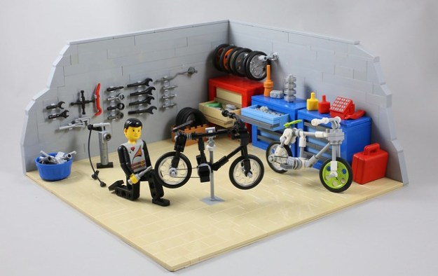 LEGO bike mechanic's workshop