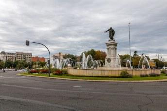 Na Zaragoza was Léon aan de beurt. Dit is de Plaza De Guzman El Bueno (hij gaf zijn mes aan de vijand zodat die daarmee zijn zoon konden vermoorden, muy bueno inderdaad).