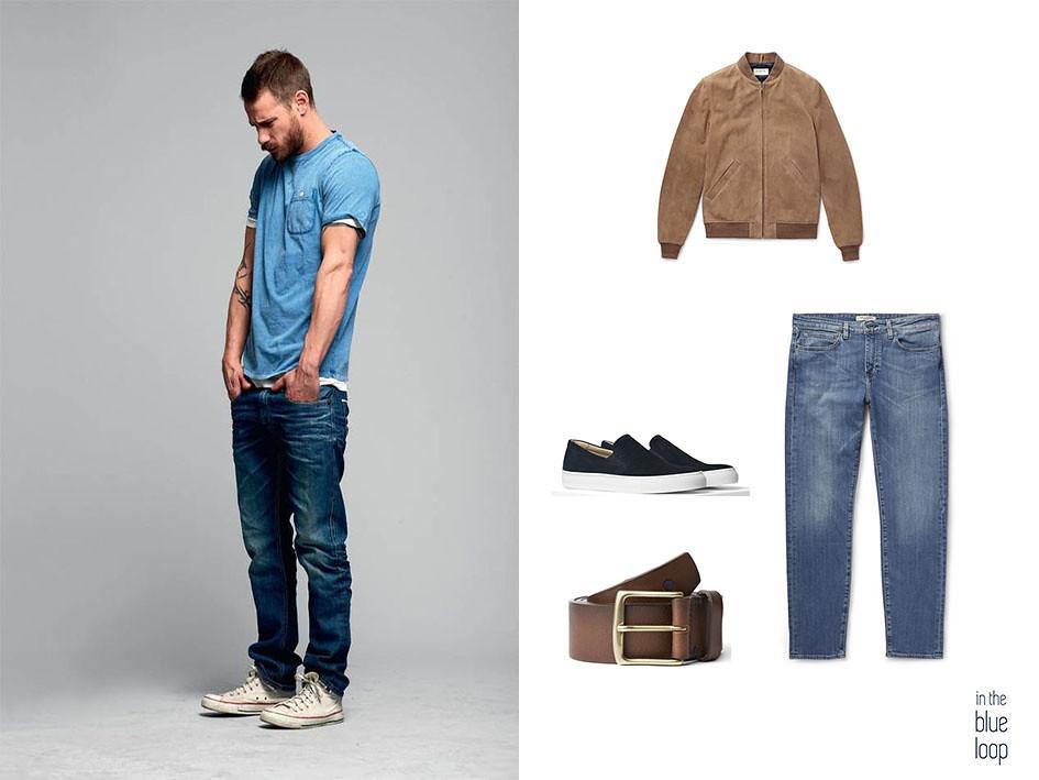 Look casual masculino con camiseta, bomber, vaqueros y cinturón garoé de cuero marrón para hombre