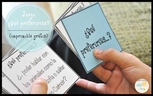 Juego ¿Qué preferirías? (imprimible gratis)