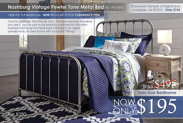 Nashburg Vintage Pewter Metal Bed B280-572-Q229-B512-91_NEW