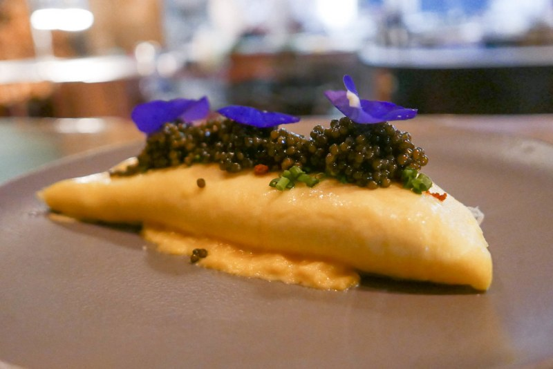 Eggs on Eggs, Osetra Royale Caviar, omelette, brown butter crumble $22