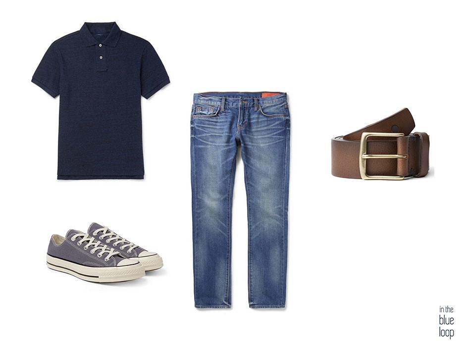 Look casual masculino con vaqueros o jeans, polo azul, converse all star y cinturón garoé de cuero marrón para hombre