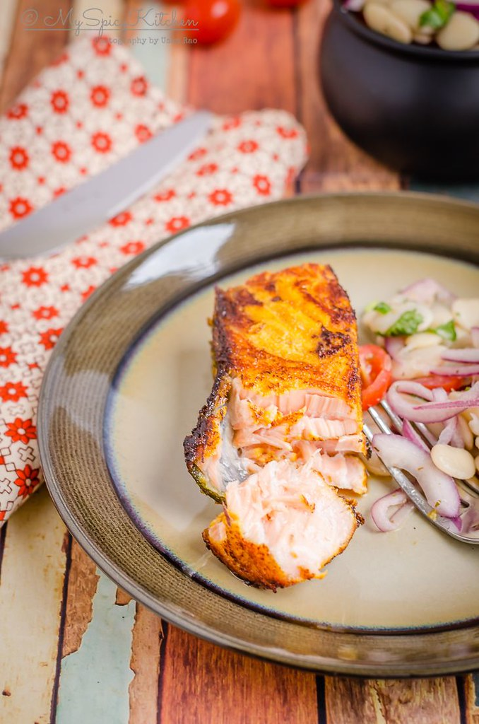 A piece of pan seared tandoori salmon