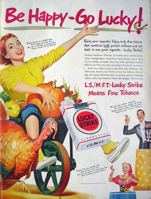 Lucky Strike Cigarettes Thanksgiving Ad, 1950