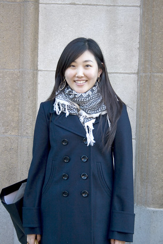 The scarf with the navy coat, lovely
