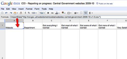 Import csv into google docs