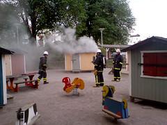 Brand i lekparken vid Tessinparken