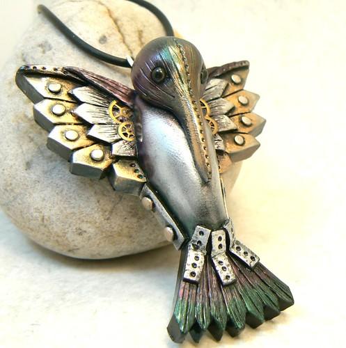 steampunk hummingbird pendant
