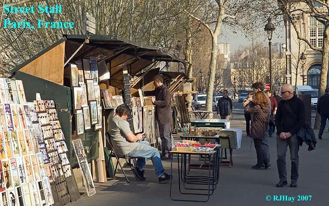 Permanent stalls along the Quai