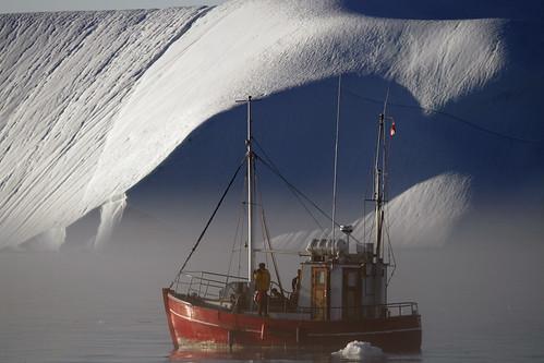 boats, bergs and fog, Disko Bay, Jacobshavn Icefjord, Greenland