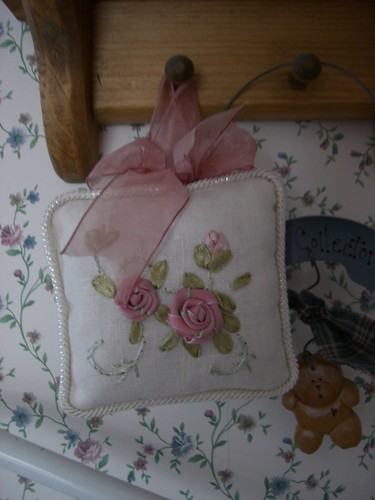 Pink roses on pillow