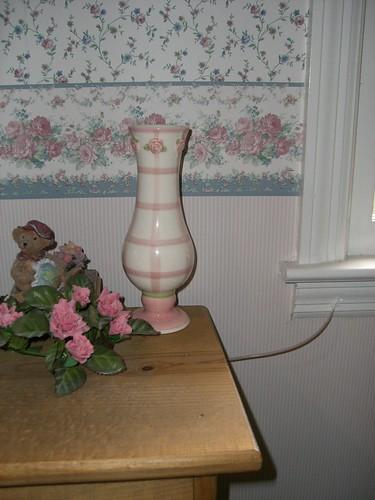 Pink roses on vase