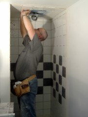 Setting the tile into place