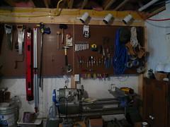 Tools on pegboard