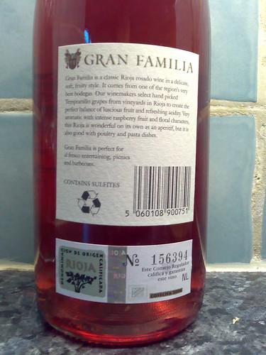 Rioja Gran Familia Rosé 2006 Back Label