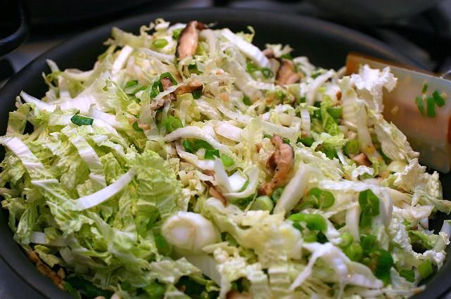 sauteed napa cabbage and shiitakes
